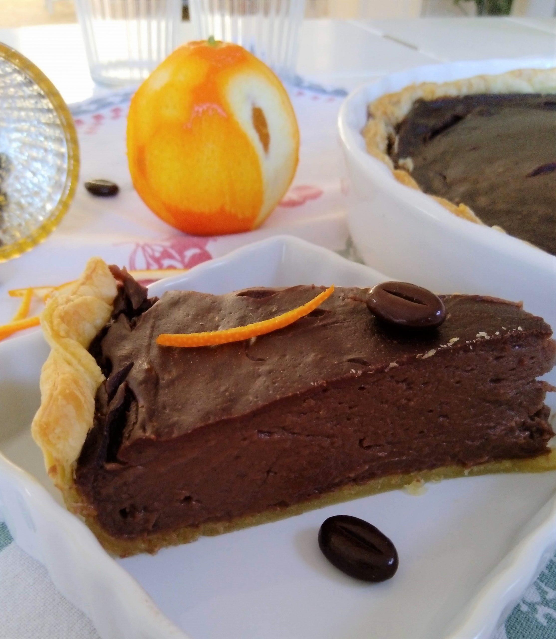 Chocolade flantaart met een vleugje sinaasappel